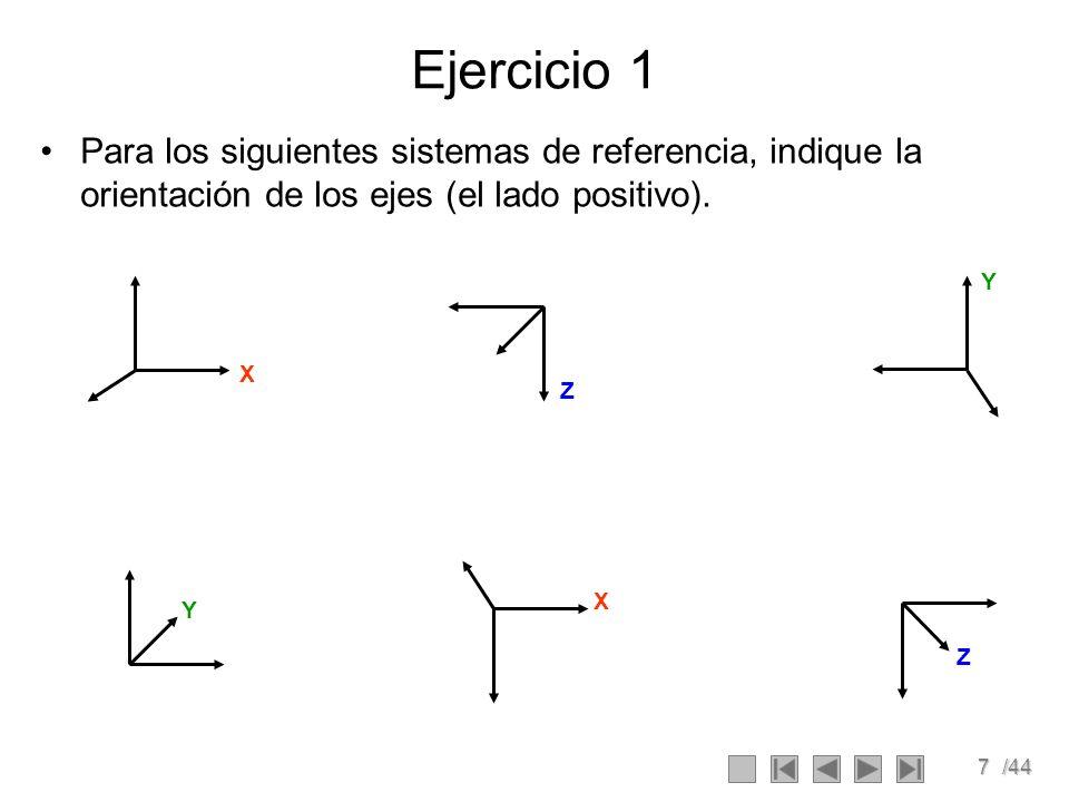Ejercicio 1 Para los siguientes sistemas de referencia, indique la orientación de los ejes (el lado positivo).