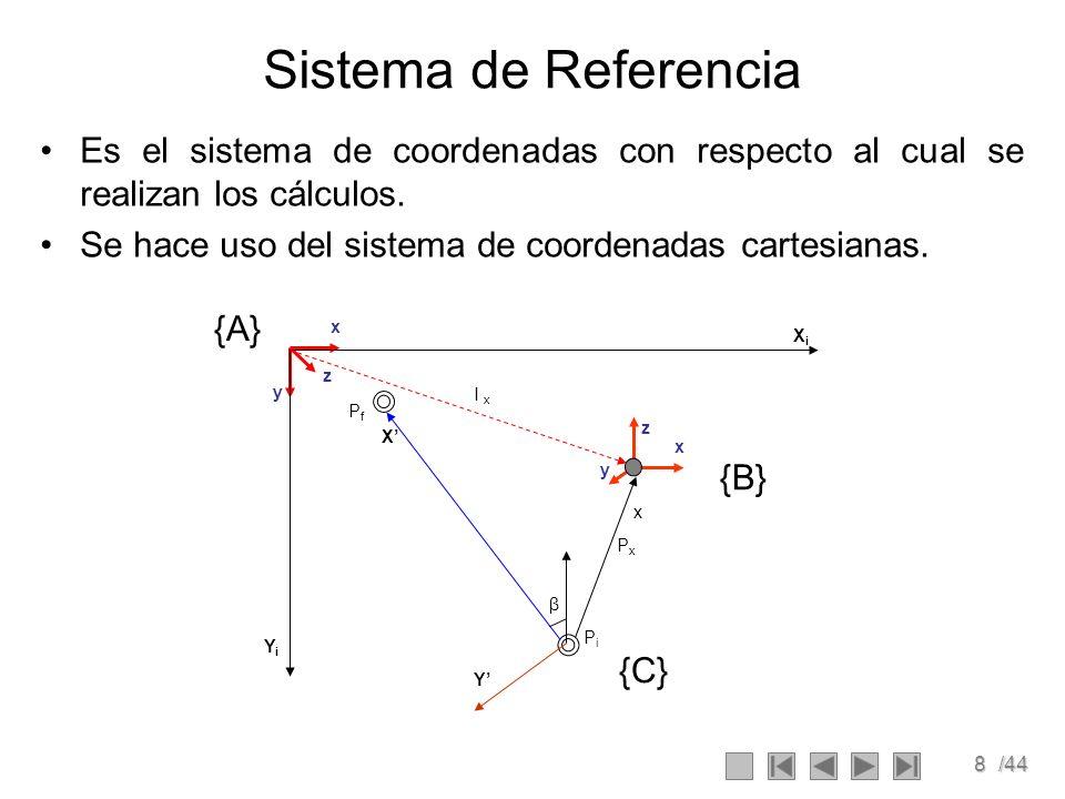 Sistema de Referencia Es el sistema de coordenadas con respecto al cual se realizan los cálculos.