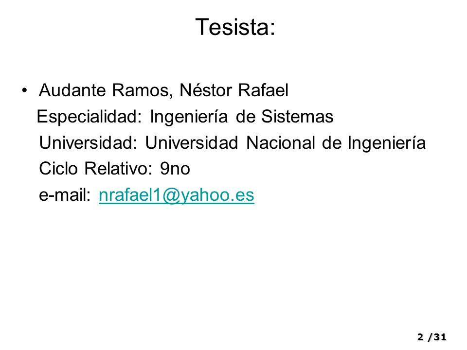 Tesista: Audante Ramos, Néstor Rafael
