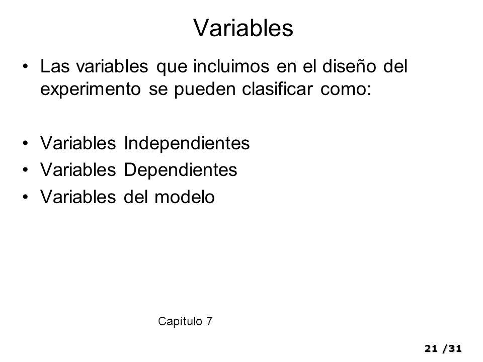 Variables Las variables que incluimos en el diseño del experimento se pueden clasificar como: Variables Independientes.