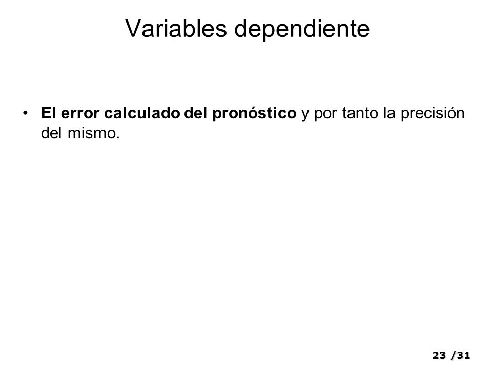 Variables dependiente