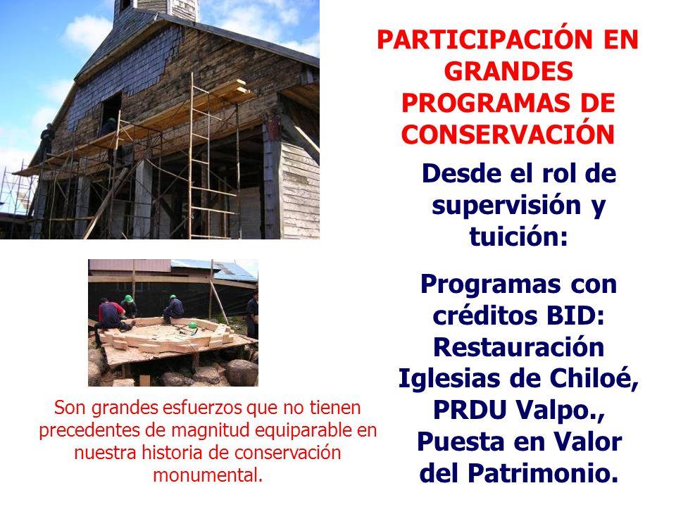 PARTICIPACIÓN EN GRANDES PROGRAMAS DE CONSERVACIÓN