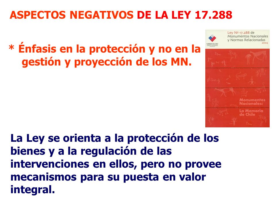 ASPECTOS NEGATIVOS DE LA LEY 17.288