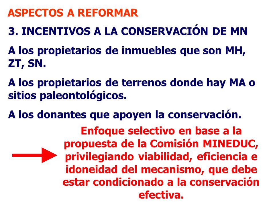 ASPECTOS A REFORMAR 3. INCENTIVOS A LA CONSERVACIÓN DE MN. A los propietarios de inmuebles que son MH, ZT, SN.
