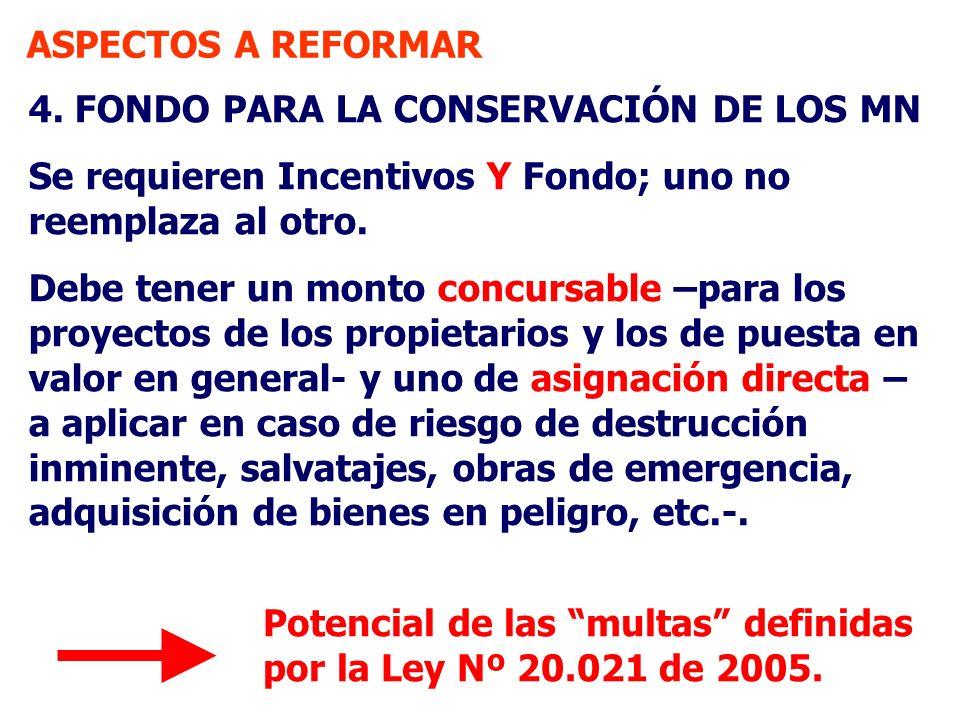 ASPECTOS A REFORMAR 4. FONDO PARA LA CONSERVACIÓN DE LOS MN. Se requieren Incentivos Y Fondo; uno no reemplaza al otro.