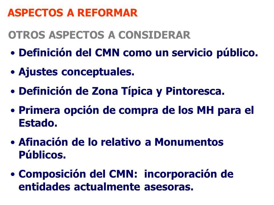 ASPECTOS A REFORMAR OTROS ASPECTOS A CONSIDERAR. Definición del CMN como un servicio público. Ajustes conceptuales.