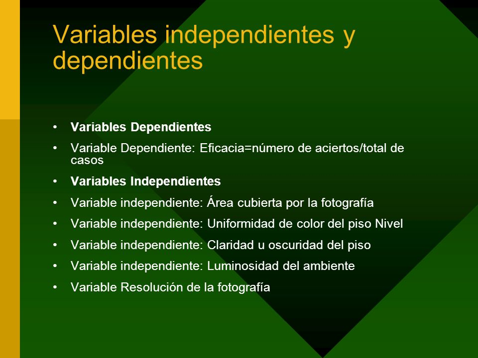 Variables independientes y dependientes
