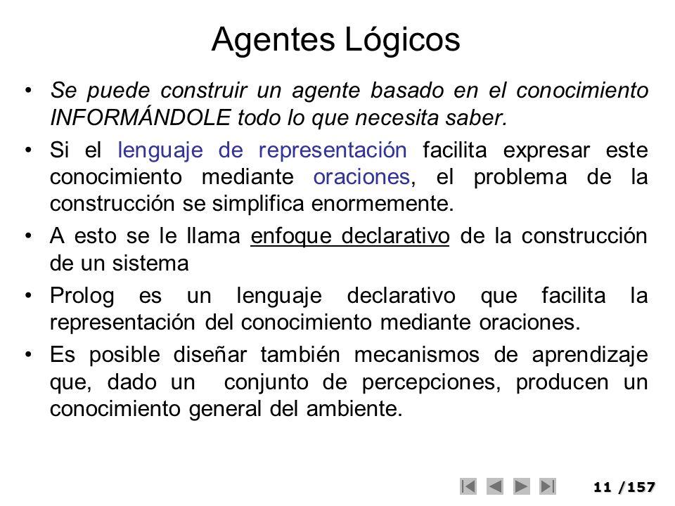 Agentes Lógicos Se puede construir un agente basado en el conocimiento INFORMÁNDOLE todo lo que necesita saber.