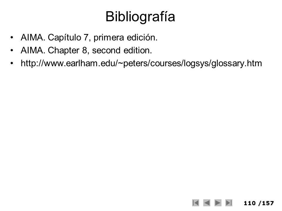 Bibliografía AIMA. Capítulo 7, primera edición.