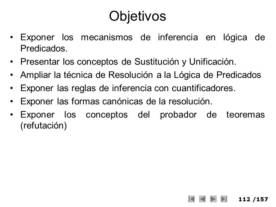 Objetivos Exponer los mecanismos de inferencia en lógica de Predicados. Presentar los conceptos de Sustitución y Unificación.