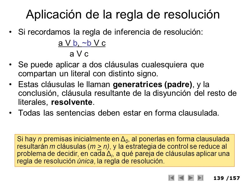 Aplicación de la regla de resolución
