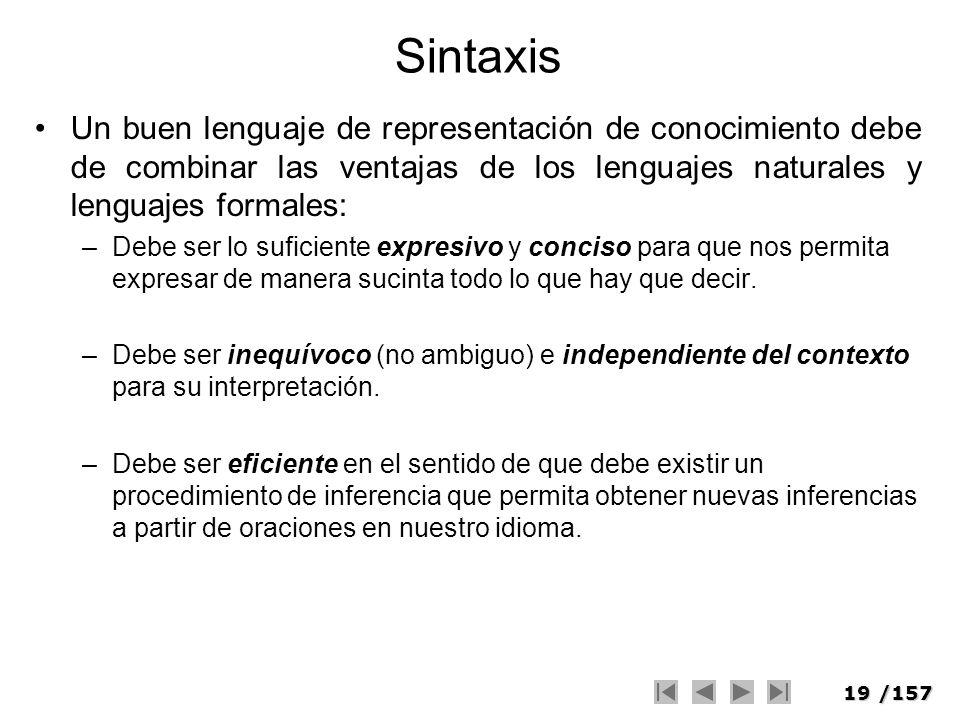SintaxisUn buen lenguaje de representación de conocimiento debe de combinar las ventajas de los lenguajes naturales y lenguajes formales: