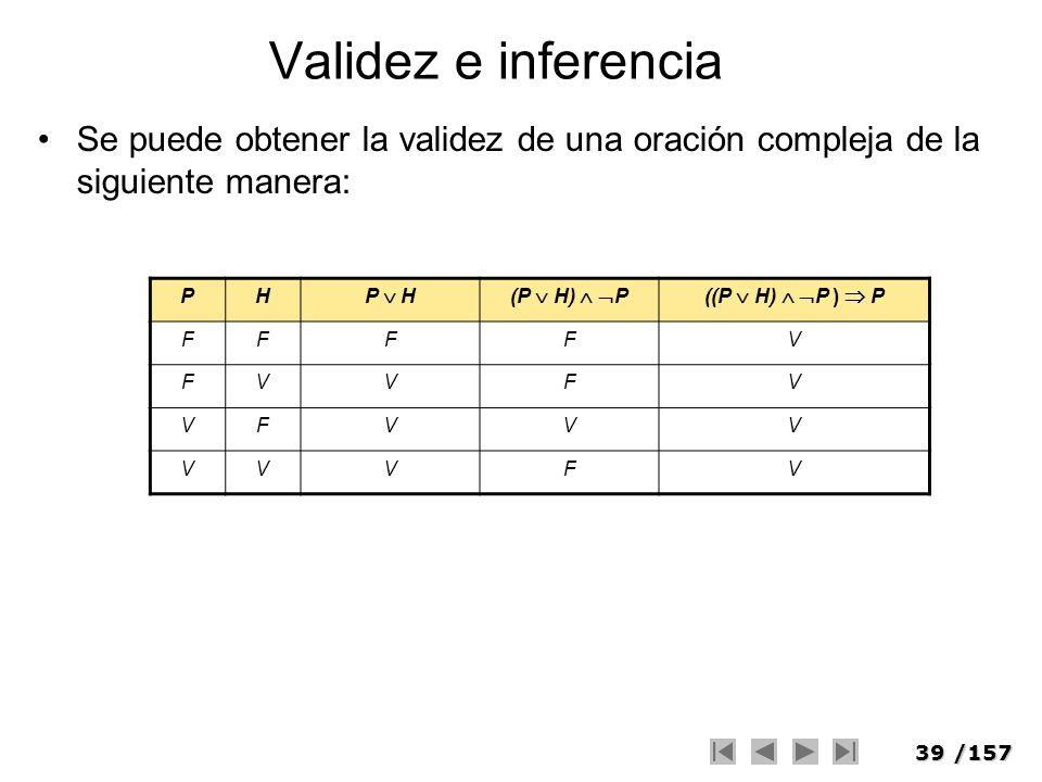 Validez e inferencia Se puede obtener la validez de una oración compleja de la siguiente manera: P.