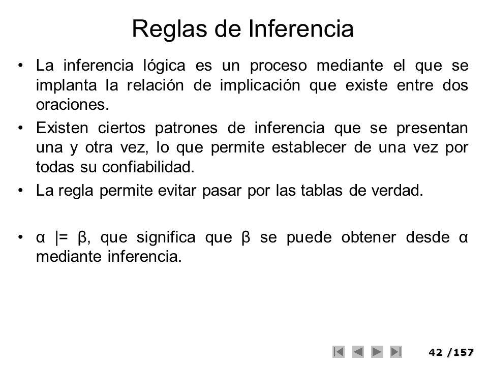 Reglas de Inferencia La inferencia lógica es un proceso mediante el que se implanta la relación de implicación que existe entre dos oraciones.