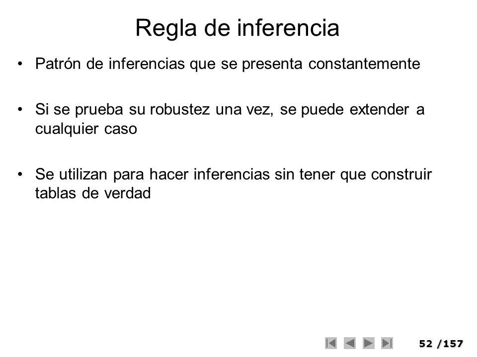 Regla de inferencia Patrón de inferencias que se presenta constantemente. Si se prueba su robustez una vez, se puede extender a cualquier caso.