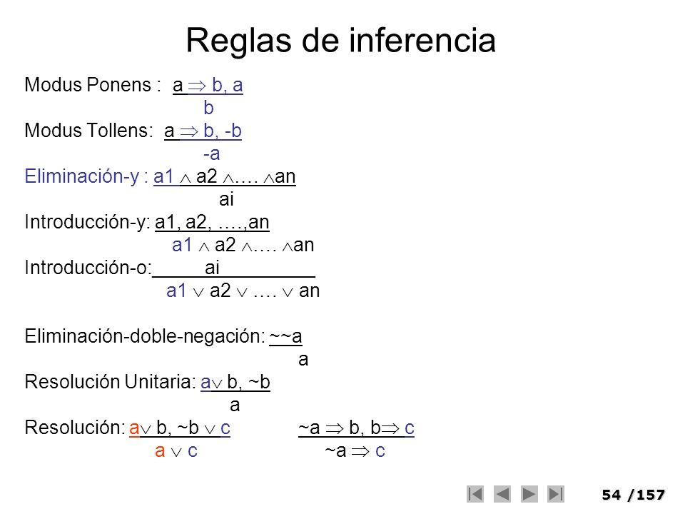 Reglas de inferencia Modus Ponens : a  b, a b