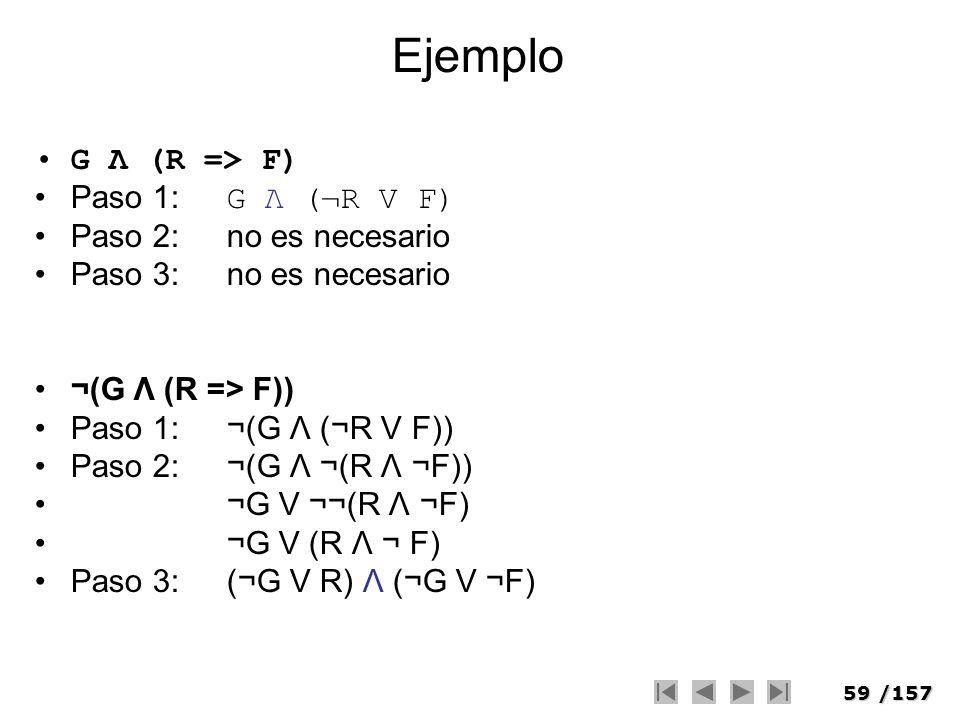 Ejemplo G Λ (R => F) Paso 1: G Λ (¬R V F) Paso 2: no es necesario