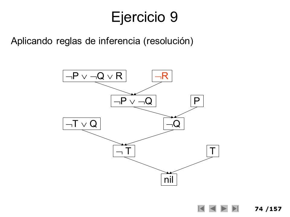 Ejercicio 9 Aplicando reglas de inferencia (resolución) P  Q  R R