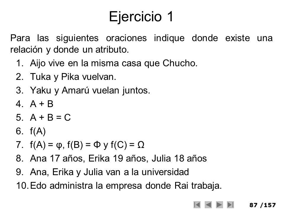 Ejercicio 1Para las siguientes oraciones indique donde existe una relación y donde un atributo. Aijo vive en la misma casa que Chucho.