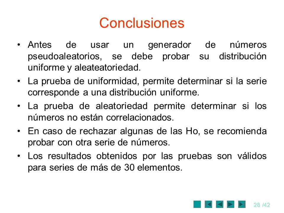 ConclusionesAntes de usar un generador de números pseudoaleatorios, se debe probar su distribución uniforme y aleateatoriedad.