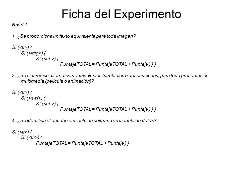 Ficha del Experimento Nivel 1