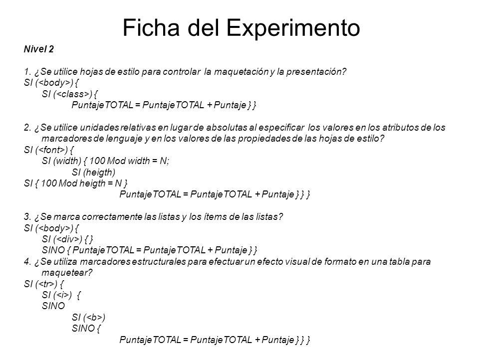 Ficha del Experimento Nivel 2