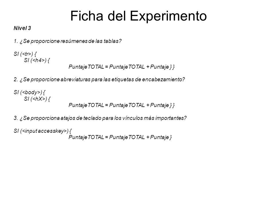 Ficha del Experimento Nivel 3