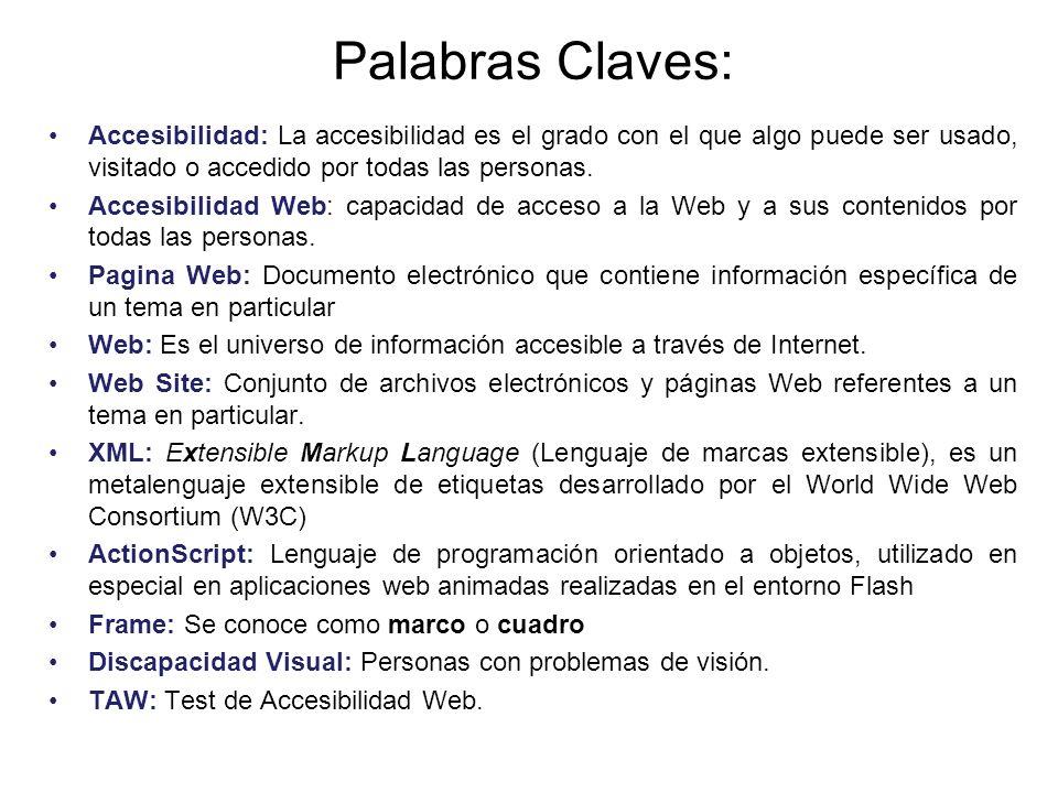 Palabras Claves: Accesibilidad: La accesibilidad es el grado con el que algo puede ser usado, visitado o accedido por todas las personas.