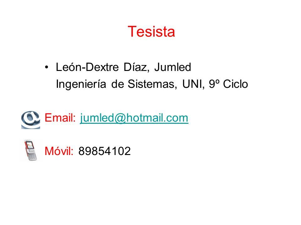 Tesista León-Dextre Díaz, Jumled Ingeniería de Sistemas, UNI, 9º Ciclo