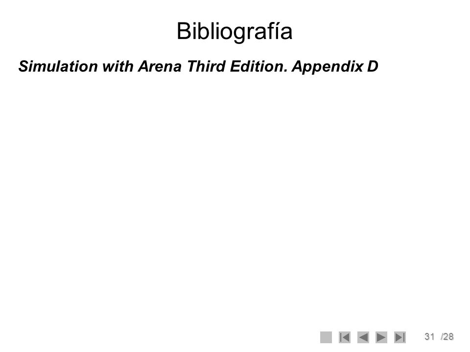 Bibliografía Simulation with Arena Third Edition. Appendix D