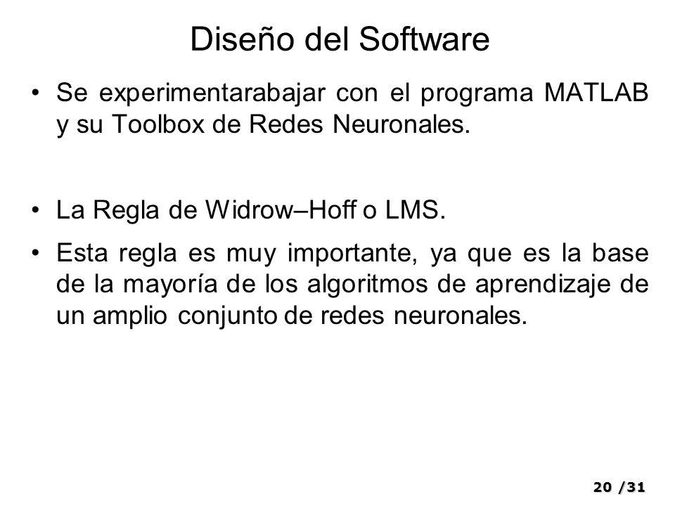 Diseño del Software Se experimentarabajar con el programa MATLAB y su Toolbox de Redes Neuronales.