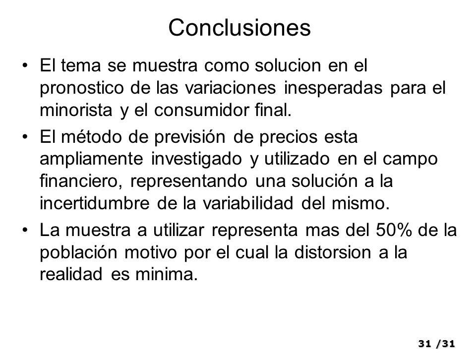 Conclusiones El tema se muestra como solucion en el pronostico de las variaciones inesperadas para el minorista y el consumidor final.