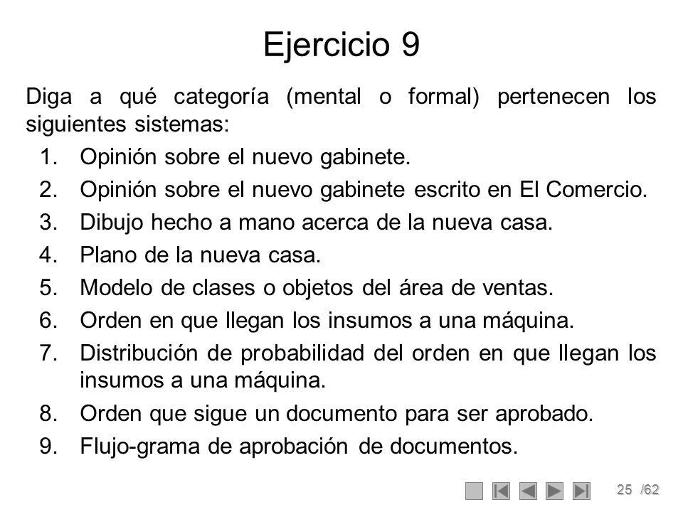 Ejercicio 9 Diga a qué categoría (mental o formal) pertenecen los siguientes sistemas: Opinión sobre el nuevo gabinete.