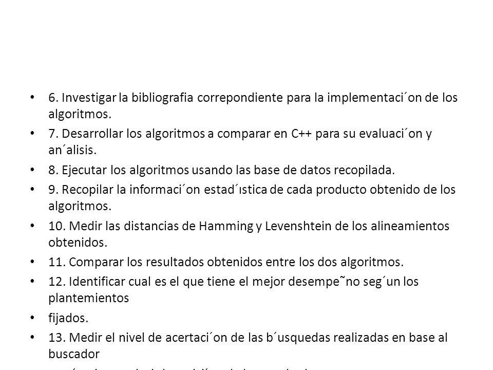 6. Investigar la bibliografia correpondiente para la implementaci´on de los algoritmos.