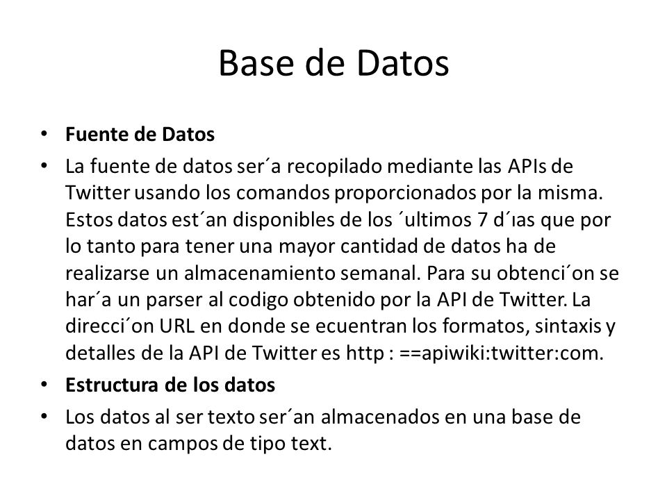 Base de Datos Fuente de Datos