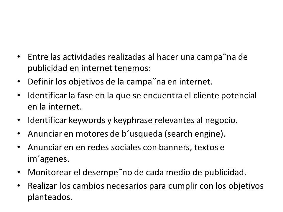 Entre las actividades realizadas al hacer una campa˜na de publicidad en internet tenemos: