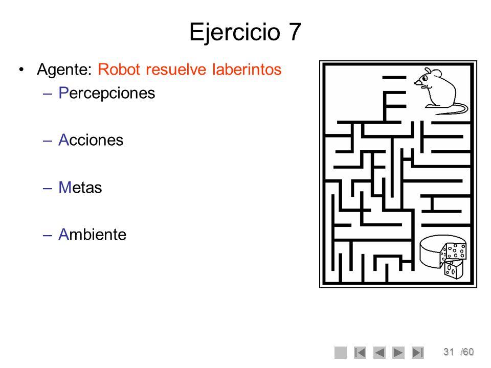 Ejercicio 7 Agente: Robot resuelve laberintos Percepciones Acciones