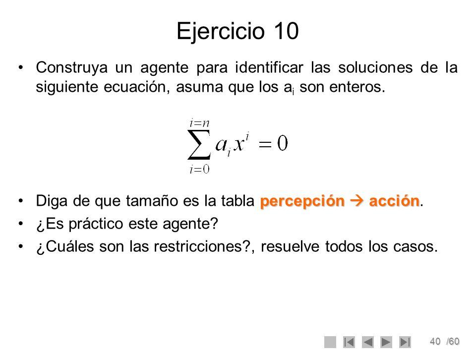 Ejercicio 10Construya un agente para identificar las soluciones de la siguiente ecuación, asuma que los ai son enteros.