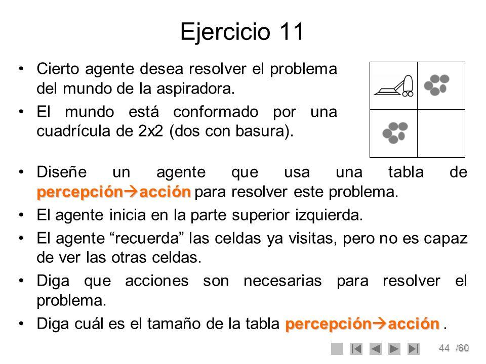 Ejercicio 11 Cierto agente desea resolver el problema del mundo de la aspiradora.
