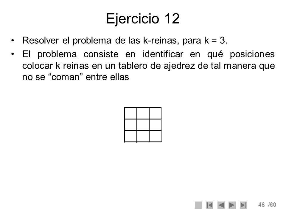 Ejercicio 12 Resolver el problema de las k-reinas, para k = 3.