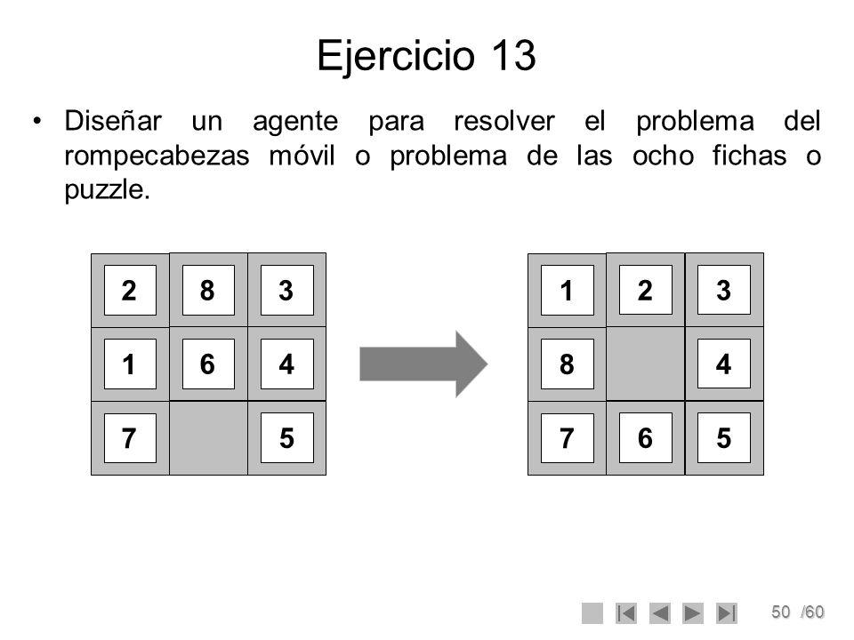 Ejercicio 13 Diseñar un agente para resolver el problema del rompecabezas móvil o problema de las ocho fichas o puzzle.