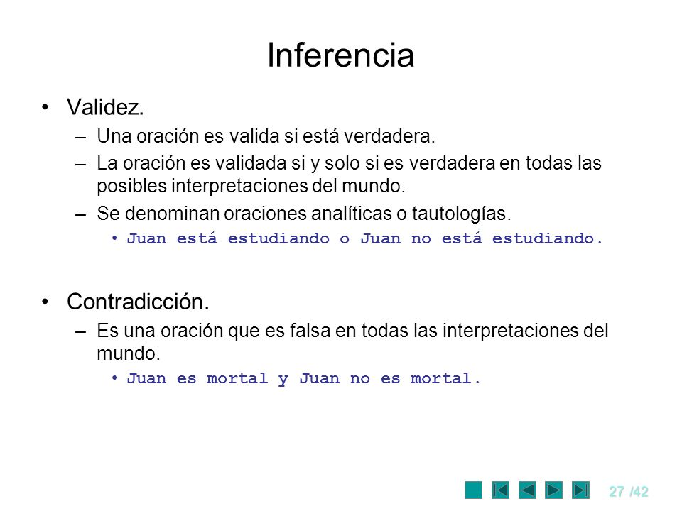 Inferencia Validez. Contradicción.
