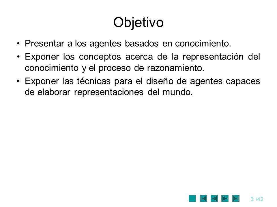 Objetivo Presentar a los agentes basados en conocimiento.