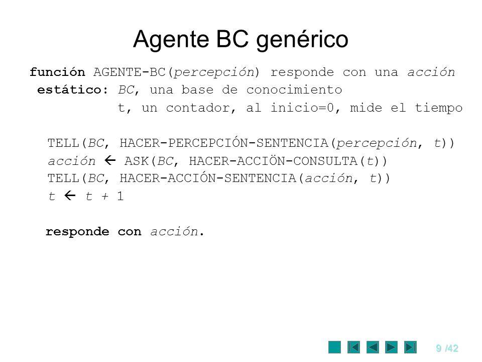 Agente BC genérico función AGENTE-BC(percepción) responde con una acción. estático: BC, una base de conocimiento.
