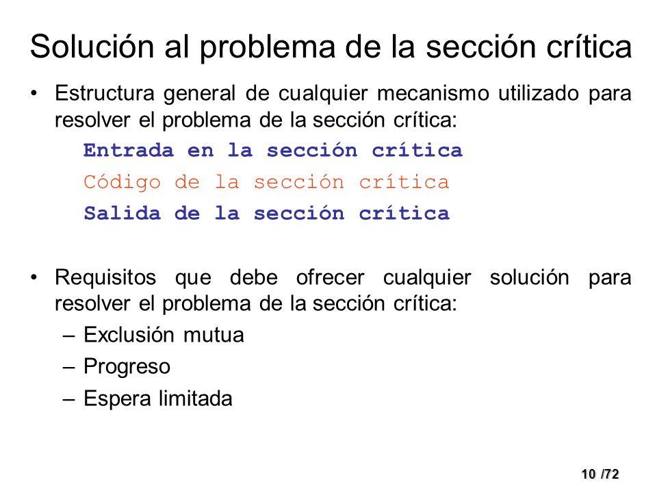 Solución al problema de la sección crítica