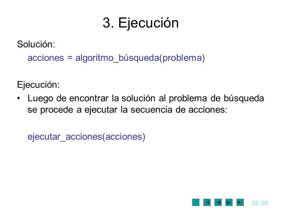 3. Ejecución Solución: acciones = algoritmo_búsqueda(problema)
