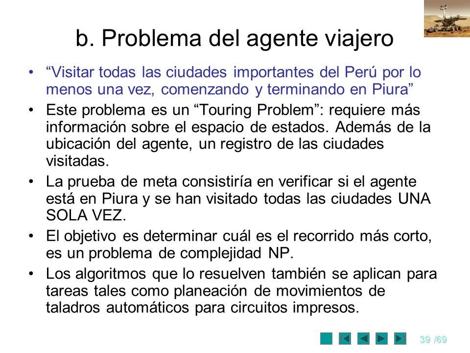b. Problema del agente viajero
