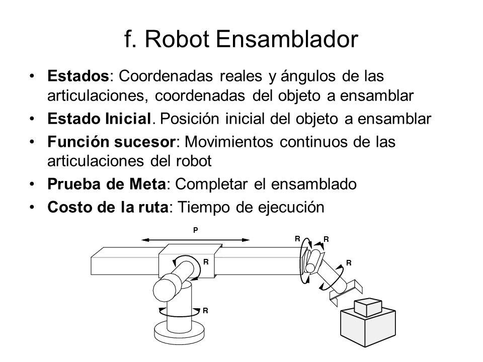 f. Robot Ensamblador Estados: Coordenadas reales y ángulos de las articulaciones, coordenadas del objeto a ensamblar.