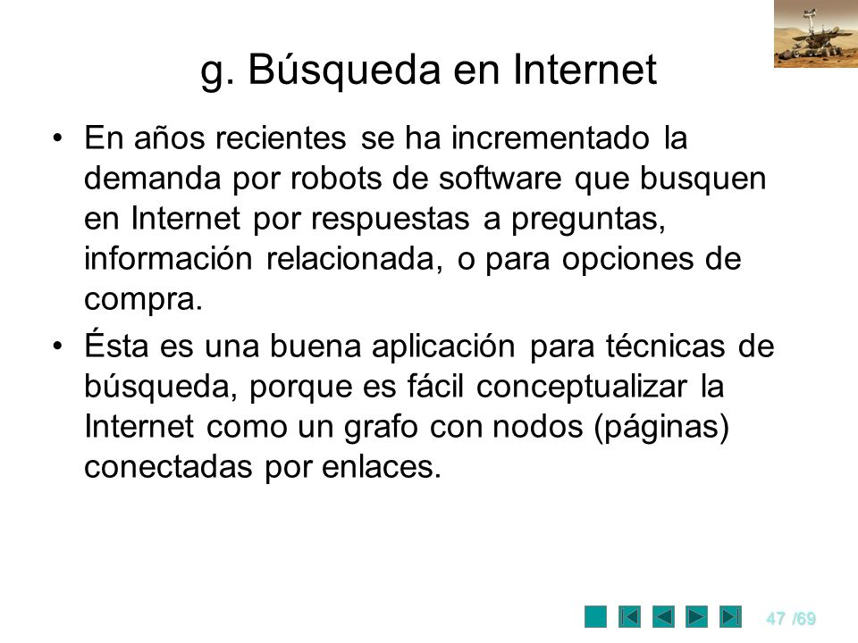 g. Búsqueda en Internet