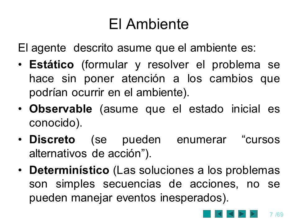 El Ambiente El agente descrito asume que el ambiente es: